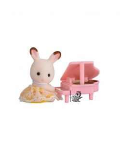 sylvanian families bebè coniglio con pianoforte